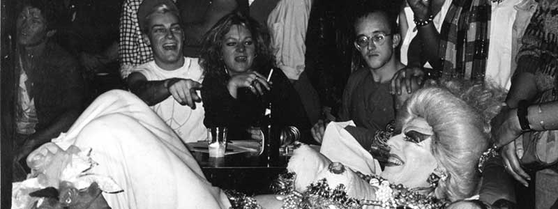A NIGHT AT DANCETERIA (Ethyl Eichelberger, Keith Haring, Cookie Mueller & John Sex), Danceteria, NYC 1984.  Photo by Joseph Modica