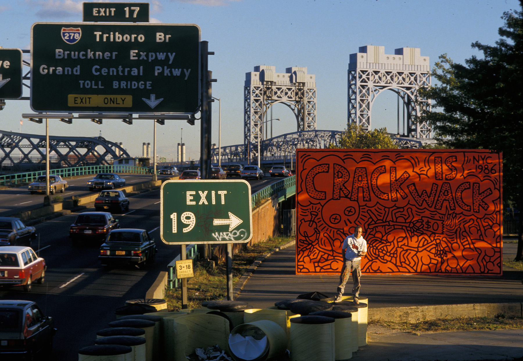 Keith Haring with Crack is Wack mural, October, 1986